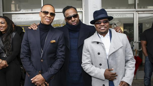 Ronnie DeVoe, Bobby Brown and Ricky Bell attend a ceremony honouring New Edition with a star on the Hollywood Walk of Fame. (John Salangsang/AP)