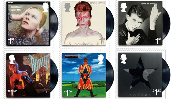 Some of the 10 special stamps being issued as a tribute to David Bowie (Royal Mail/PA)