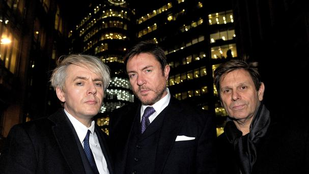 Nick Rhodes, Simon Le Bon and Roger Taylor, as they left the Rolls Building in central London after attending a US copyright hearing