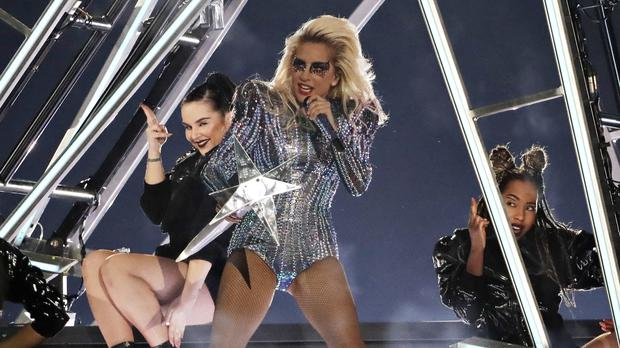 Lady Gaga performs during the half-time show at the Super Bowl in Houston (AP Photo/David J. Phillip)