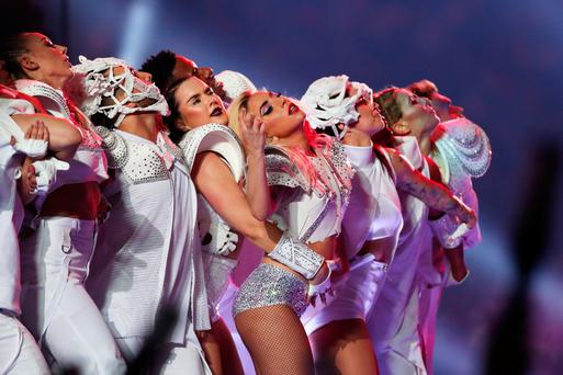 Big song and dance: Lady Gaga (centre) topped the bill