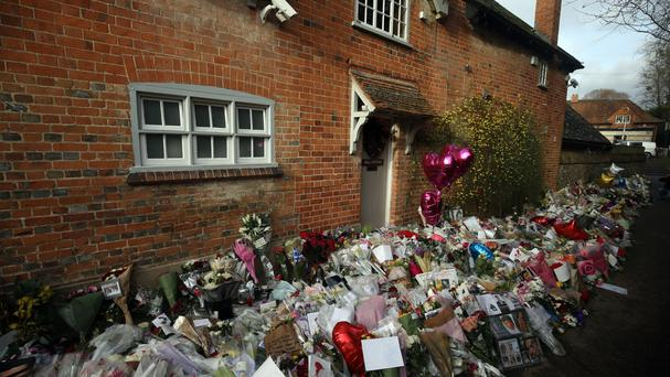 Floral tributes outside George Michael's home following his death on Christmas Day