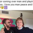 Screen grabbed image taken from the Twitter feed of Ringo Starr of the former Beatles drummer with Sir Paul McCartney (Screengrab/Twitter/PA)
