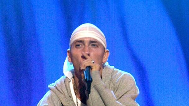 Eminem performing on the main stage at Reading
