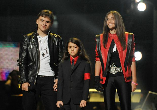 (Left - right) Michael Jackson's children Prince, Blanket and Paris at the Michael Forever Tribute Concert at the Millennium Stadium, Cardiff.