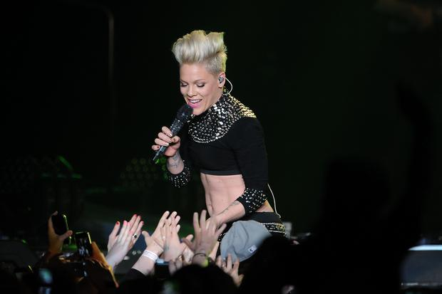 Pink performs on stage at the LG Arena, Birmingham.