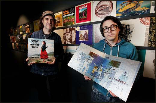 Ciarán Swan and Niall Mc Cormack who are Curators of their exhibition titled 'Green Sleeves Irish Printed Record Covers 1955-2017' at the National Print Museum. Pic Steve Humphreys 11th May 2017.