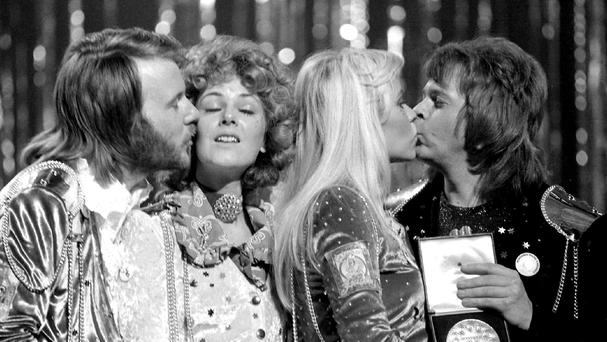 Abba congratulate each other in Brighton, after winning the Eurovision Song Contest (PA)