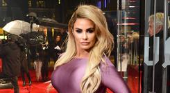 Katie Price arriving for the Fifty Shades Darker European Premiere held at Odeon Leicester Square (Ian West/PA)