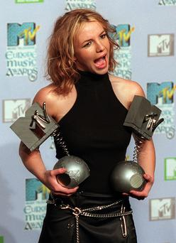 Britney Spears with her MTV Europe Awards from 1999 at the Point in Dublin. Photo: Steve Humphreys