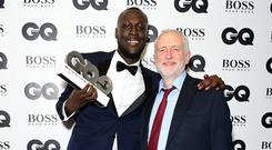 Stormzy and Jeremy Corbyn at the GQ Awards (PA)