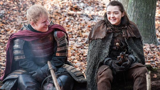 Game Of Thrones Ed Sheeran and Maisie Williams