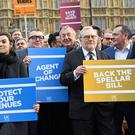 Campaigners outside Parliament earlier this month (Stefan Rousseau/PA)