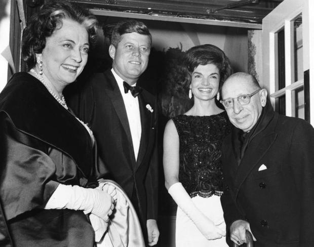 Warm front: Igor and Vera Stravinsky are greeted at the White House by the Kennedys