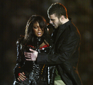 Nip-rip: Justin Timberlake just before he exposed Janet Jackson's breast during the Super Bowl half-time show in 2004. Photo: Getty Images