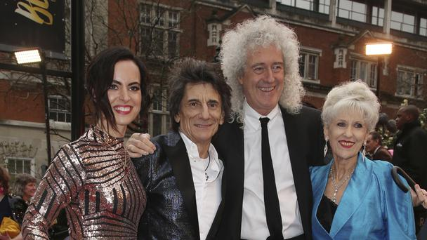 Sally Wood, Ronnie Wood, Brian May and Anita Dobson (Joel C Ryan/AP)
