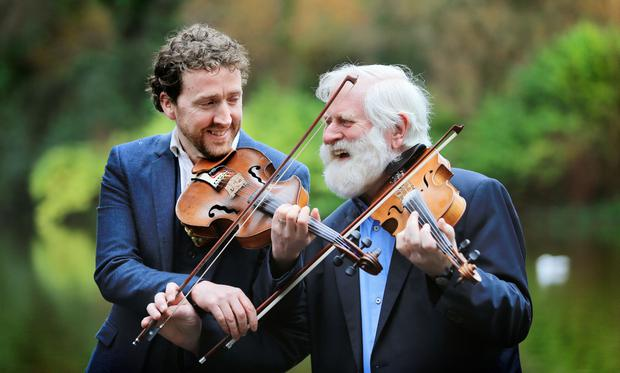 Loose and fun: Colm Mac Con Iomaire and John Sheahan are playing together as part of the MusicTown festival. Photo: Gerry Mooney