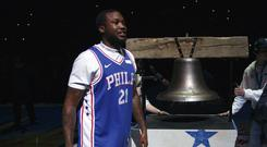 Meek Mill at the game in Philadelphia