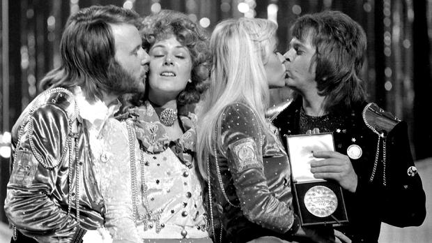 Pop group Abba congratulate each other in Brighton after winning the Eurovision Song Contest (PA)