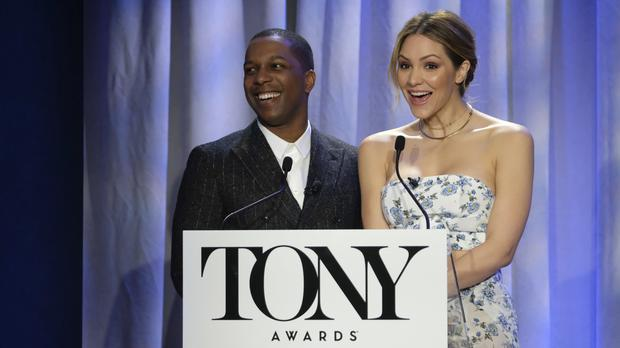 Katharine McPhee and Leslie Odom Jr at the Tony Awards nominations (Charles Sykes/Invision/AP)