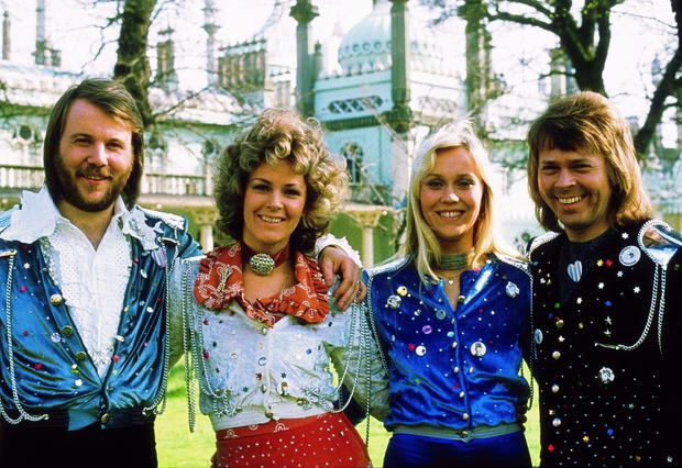 My my: Björn Ulvaeus, Agnetha Faltskog, Anni-Frid Lyngstad and Benny Andersson after their win with 'Waterloo' at the 1974 Eurovision in Brighton