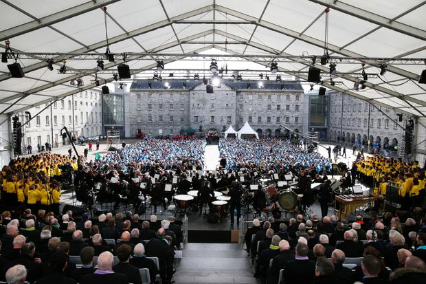 Paying the piper: The National Symphony Orchestra joined singers at the 'A Nation's Voice' event as part of the 1916 commemorations