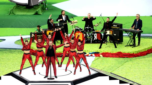 Robbie Williams performs at the opening ceremony of the FIFA World Cup 2018 (Tim Goode/ EMPICS)