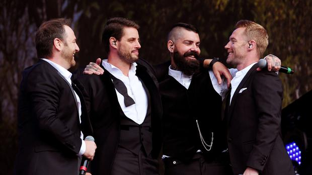 Boyzone (from left to right) Mikey Graham, Keith Duffy, Shane Lynch and Ronan Keating (Ian West/PA)