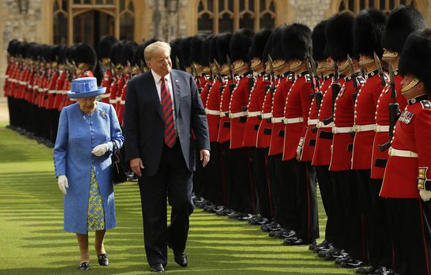 The president walked ahead of the monarch (Matt Dunham/PA)