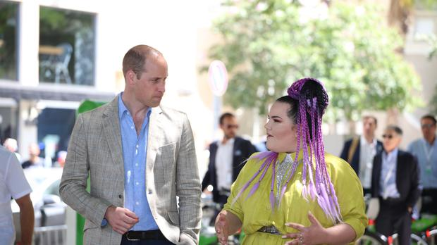 Netta Barzilai, pictured with the Duke of Cambridge, won the 2018 Eurovision Song Contest (Ian Vogler/Daily Mirror/PA)