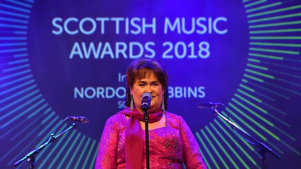 Susan Boyle accepted the first award of the night (Andy Buchanan/PA)