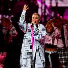 Pink performs on stage at the Brit Awards (Victoria Jones/PA)