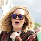 Adele and Simon Konecki backstage at Glastonbury in 2015