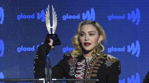 Madonna accepts the advocate for change award (Evan Agostini/AP)