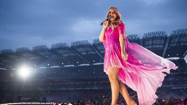 Emma Bunton at Croke Park in Dublin. The pop group took to the stage for the first time in seven years to kick off their highly-anticipated stadium reunion tour.