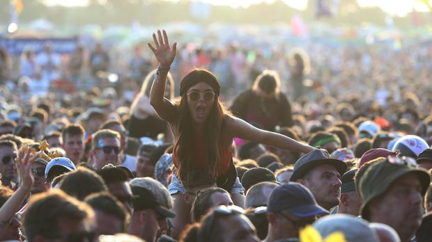 Crowds watching Two Door Cinema Club performing on Friday (Yui Mok/PA)