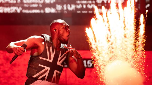 Stormzy performing on the Pyramid Stage during the Glastonbury Festival (PA)