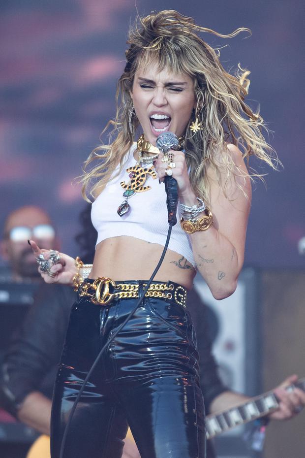 Miley Cyrus performing on the fifth day of the Glastonbury Festival (Aaron Chown/PA)