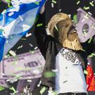 Lewis Capaldi wearing the Chewbacca mask at TRNSMT festival (Lesley Martin/PA)