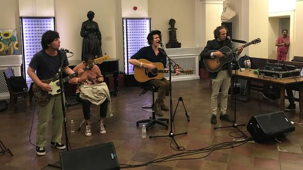 Mystery Jets playing to patients, doctors and nurses at St Thomas' Hospital in London (Alex Green/PA)