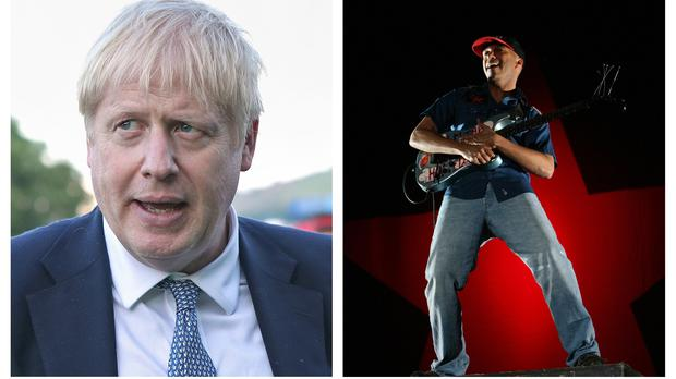 Boris Johnson, left, and Tom Morello (PA)