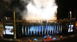 Sir Ringo performs with Dave Stewart and the Royal Liverpool Philharmonic Orchestra atop St George's Hall in Liverpool in 2008 (Peter Byrne/PA)
