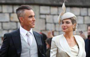 Robbie Williams and Ayda Field at the wedding of Princess Eugenie (Gareth Fuller/PA)
