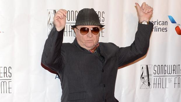 Van Morrison celebrates after winning an award at the 46th Annual Songwriters Hall 0f Fame Induction and Awards (AP)