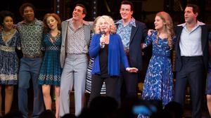 Carole King (centre left) with the cast of Beautiful - The Carole King Musical, after she made a surprise visit to the West End production and treated the audience to a rendition of her hit You've Got A Friend