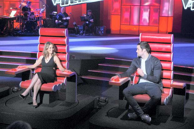 Rachel Stevens and Bressie during a recording of The Voice of Ireland in The Helix.