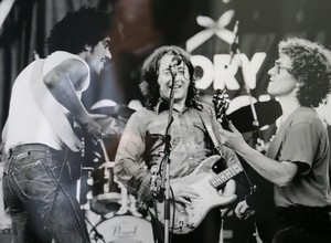 JAM SESSION: Phil Lynott, Rory Gallagher and Paul Brady at the Hot Press music festival at Punchestown in 1982