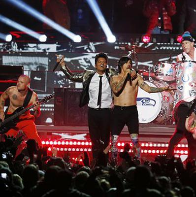 Bruno Mars and the Red Hot Chili Peppers performed at the Super Bowl half-time show