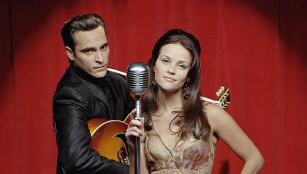 Walk the Line stars Joaquin Phoenix as Johnny Cash and Reese Witherspoon as his wife June Carter
