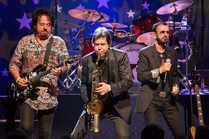 'I'll play with any other musician all night, but I can't do it on my own' - Steve Lukather, Warren Ham and Ringo perform on stage as part the All-Starr Band in Austin, Texas, in 2014. Photo: getty